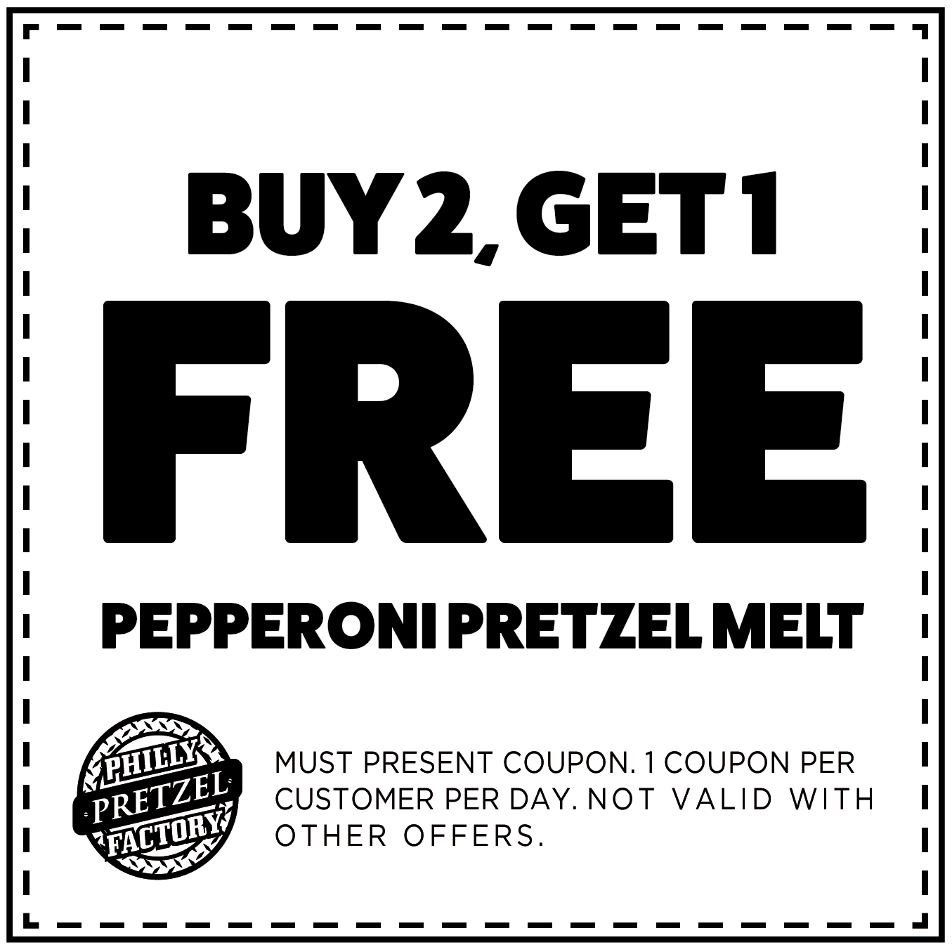 Buy 2, Get 1 Free Pepperoni Pretzel Melt