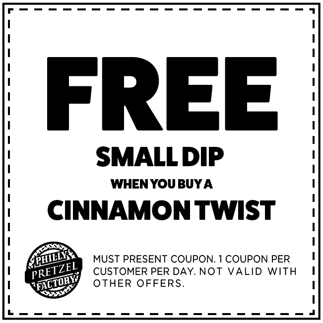 Free Small Dip when you Buy a Cinnamon Twist